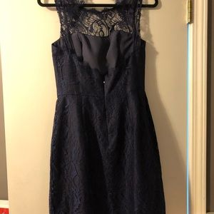Jim Hjelm Occassions Dresses - Bridesmaid Navy Lace Dress